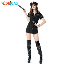 2019 new adult erotic costume Halloween COS professional role playing suit Instructor policewoman black police uniform