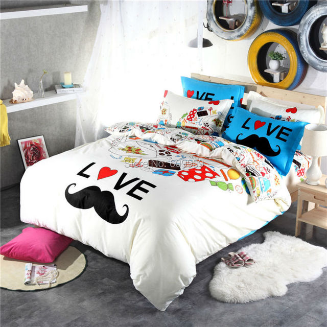 Buy mustache bedding for teen girls gentleman funny cute blue and white bed - Cute teenage girl bedding sets ...