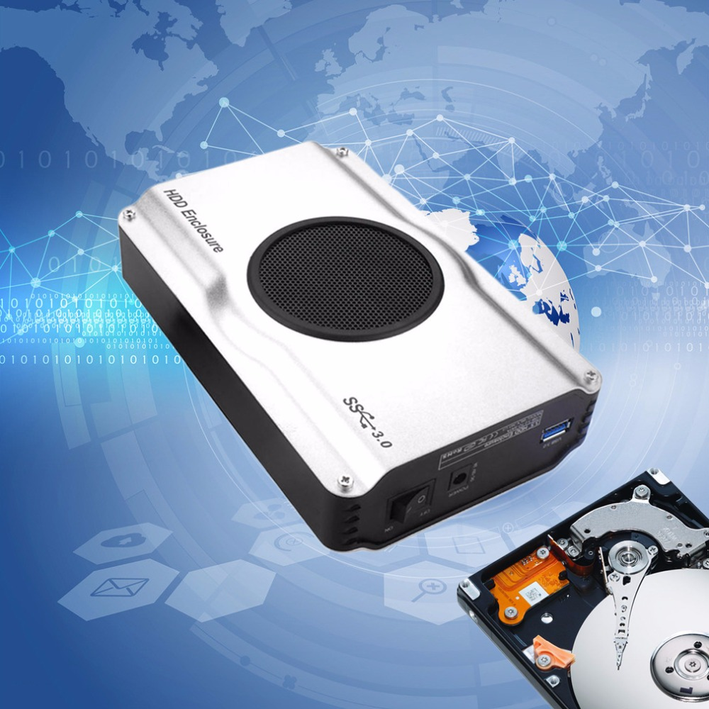 SATA HDD Enclosure Box Case Internal Cool Fan 3.5 Inch 393U3 Aluminum Casing 5 Gbps SuperSpeed USB 3.0 To