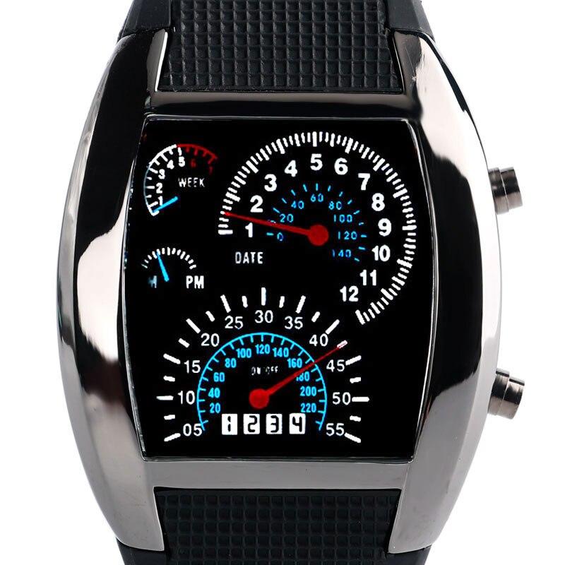 Men's Blue & White LED Luminous Watches 2017 Vogue Sports Digital Military Pilot Speedometer Dot Matrix Boys Rubber Band Relojes