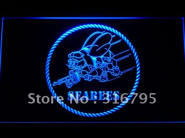 F041 Seabees Neon LEVOU Sinal da Marinha DOS EUA com On/Off Switch 20 + Cores 5 Tamanhos para escolher