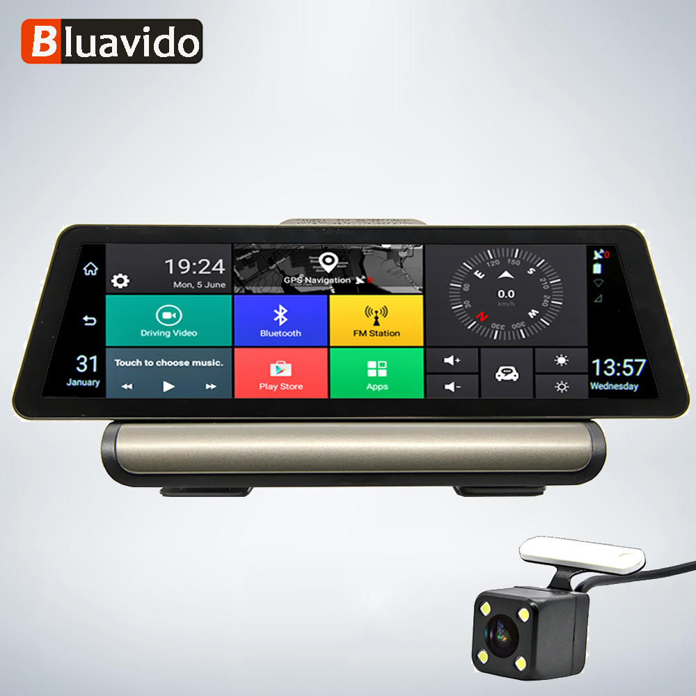 Bluavido 10 Inch 4G Android Car DVR 1080P Video Camera GPS Navigation ADAS Full HD Camcorder