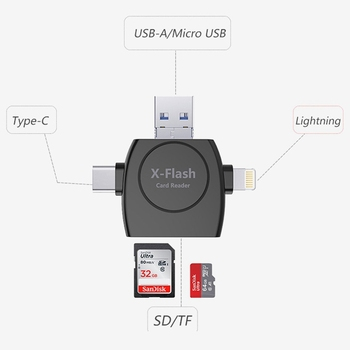 Kismo 4-in-1 Type C Micro USB  Lightning Card Reader TF SD Card Reader Adapter for iphone 7 8 X Samsung S8 S9 Note 8 Android