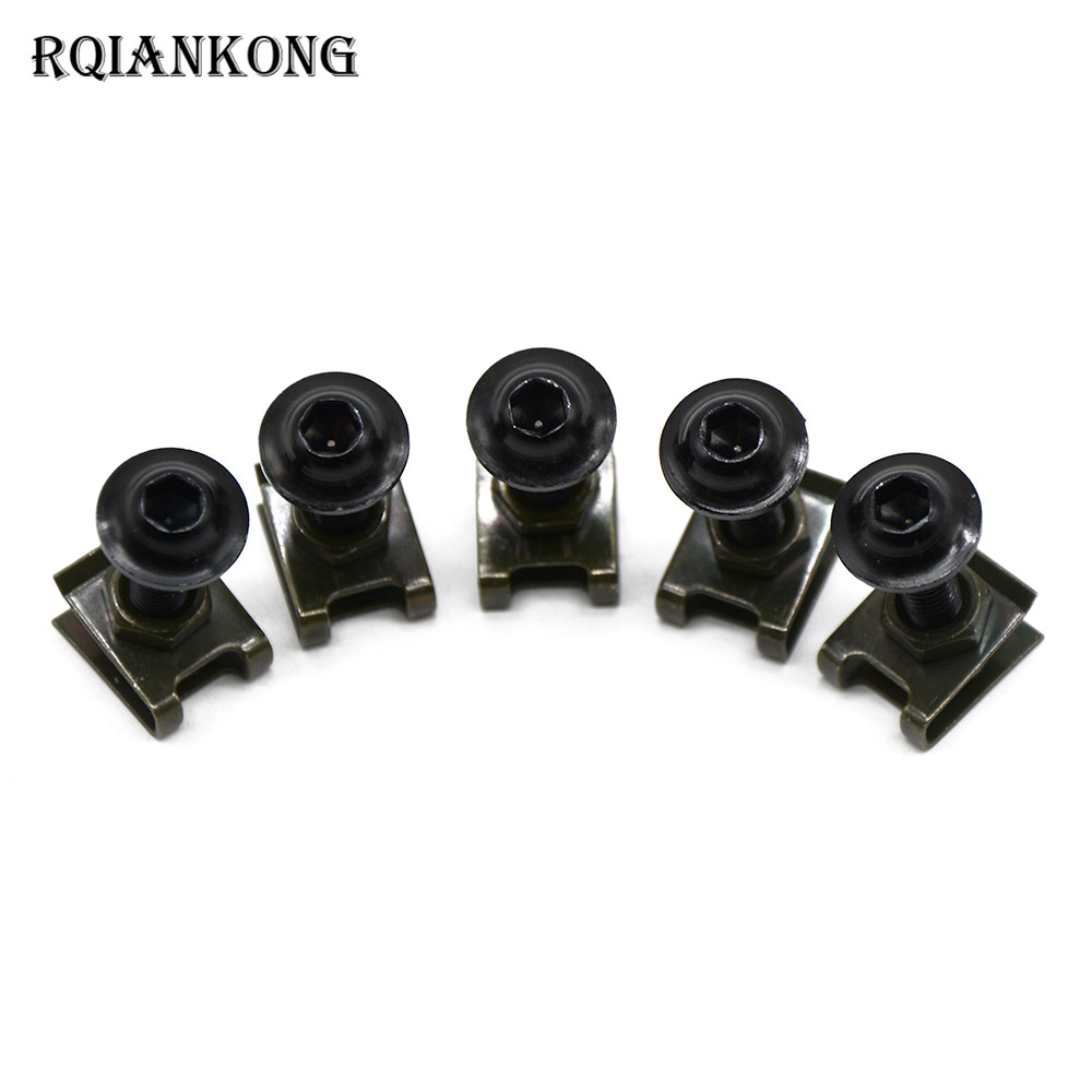 5pcs CNC Motorcycle Fairing Bolts M6 Spire Fastener Clips Screw Spring Bolts Nuts For SUZUKI 600/750 KATANA DR 650 S GSXR1300