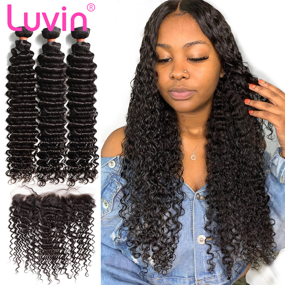 Luvin 28 30 Inch Malaysian Human Hair Weave Curly 3 4 Bundles With 13x4 Lace Frontal Closure Double Drawn Deep Water Wave