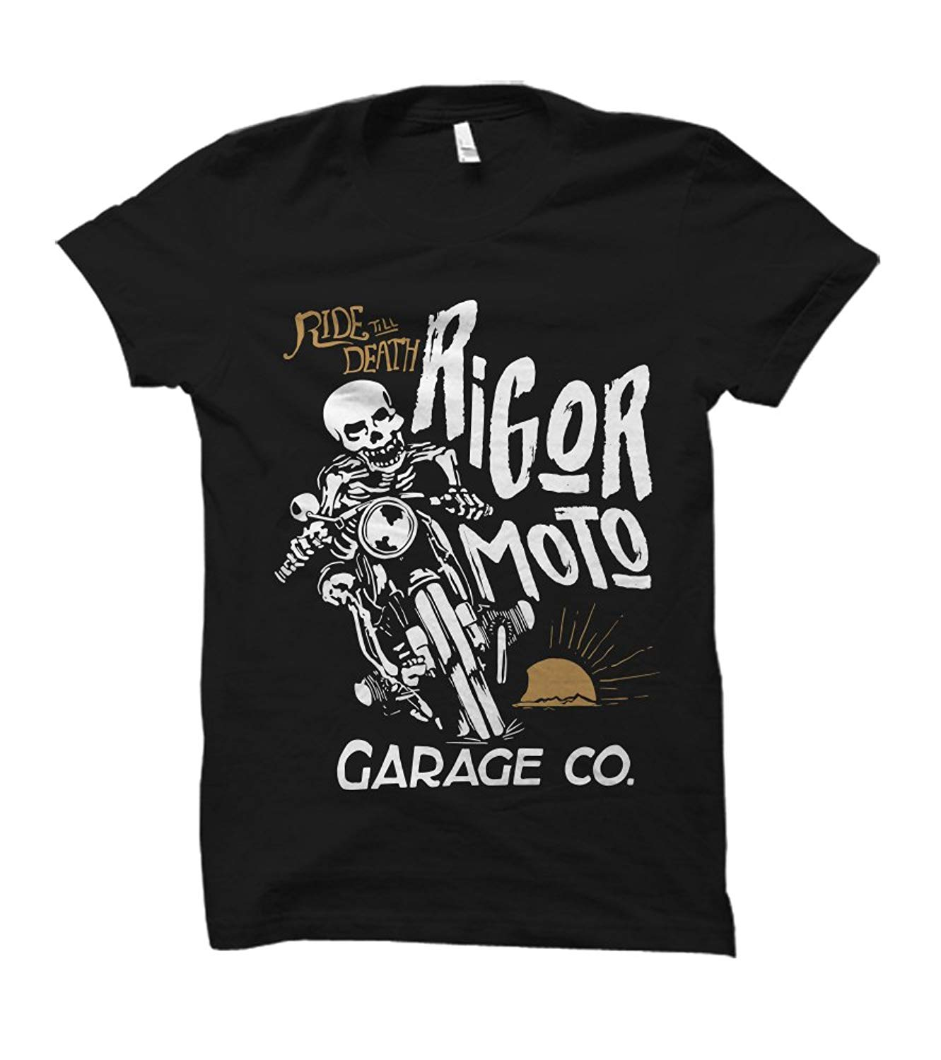 Ride Till Death Rigor Moto Skeleton Adult  Brand Clothihng Top Quality Fashion Mens T Shirt 100% Cotton