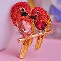 Madrry Горный Хрусталь Сорока Броши Аксессуары Шляпа Шарф Клипы Позолоченные Женщины Брошь Брошь День святого валентина Подарок для Лучший Любовь