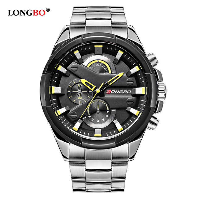 LONGBO Top Brand Pilot Military Sport Men Quartz Watch Dynamic Fashion Wristwatch Full Steel Waterproof Clock Relogio Masculino