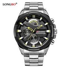 LONGBO Top Brand Pilot Military Sport Men Quartz Watch Dynamic Fashion Wristwatch Full Steel Waterproof Clock Relogio Masculino стоимость