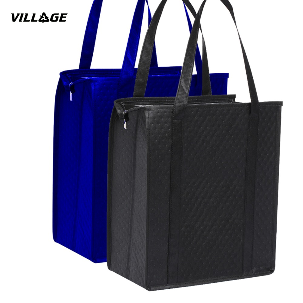 2PCS Eco-Friendly Large Insulated Cooler Bags Reusable Lunch Bag For Wine Food Textile Foldable