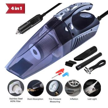 CARAYMIN 4 in 1 Multifunctional High Power 12V 120W Car Vacuum Cleaner Air Compressor Tire inflator for Home Car Cleaning