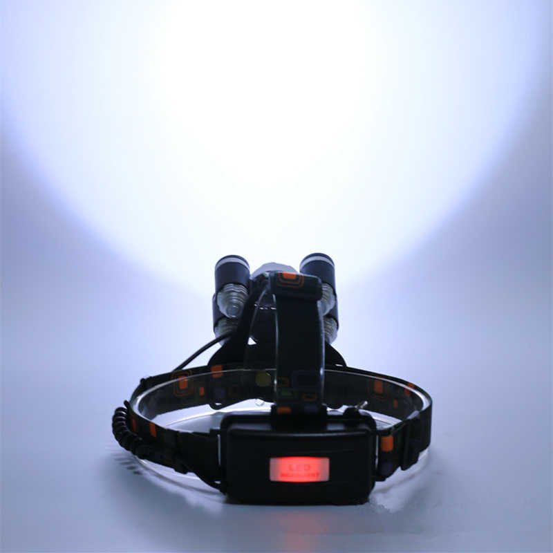 5 LED Headlight Headlamp XML T6 Head Lamp 12000Lm 4 Mode Torch 2x18650 Battery+Charger Flashlight on the Forehead Fishing Lights