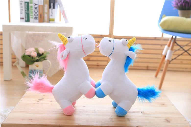 HTB1 YefSXXXXXXEaXXXq6xXFXXXW - Cute pink/blue stuffed PP Cotton Horse doll Christmas present kids doll baby plush toys 30cm Cartoon plush Unicorn toys VOTEE