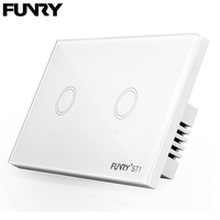 Funry Sensor Touch Switch ST1 2Gang US Standard Glass Touch Switch 110 240V Light Sensor Waterproof