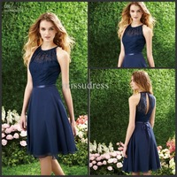ZL0089 Beautiful skirts 2015 Fast Shipping Dark Navy Halter Lace Top Knee Length Chiffon Short Bridesmaid Dress Party Dresses
