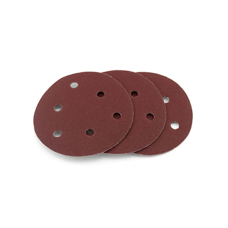 Dry Sanding Paper 5 Inch 6 Hole Sandpaper Disk Sandpaper Red Sand Car  Furniture 125MM Flocking