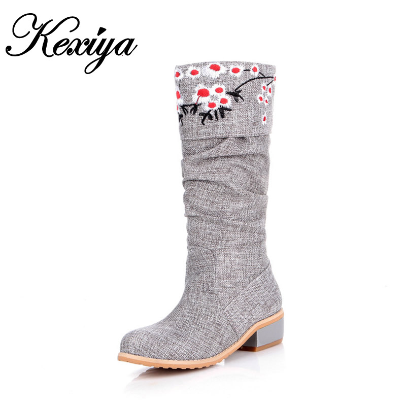 Hot sale ! Big size 30-50 new autumn/winter women shoes Fashion embroidered low heel shoes warm round toe Mid-Calf boots HQW-A39