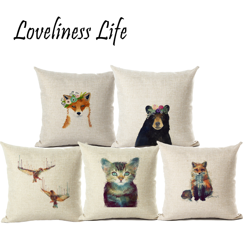 Diseño original Acuarela Animal Funda de cojín Algodón Lino - Textiles para el hogar