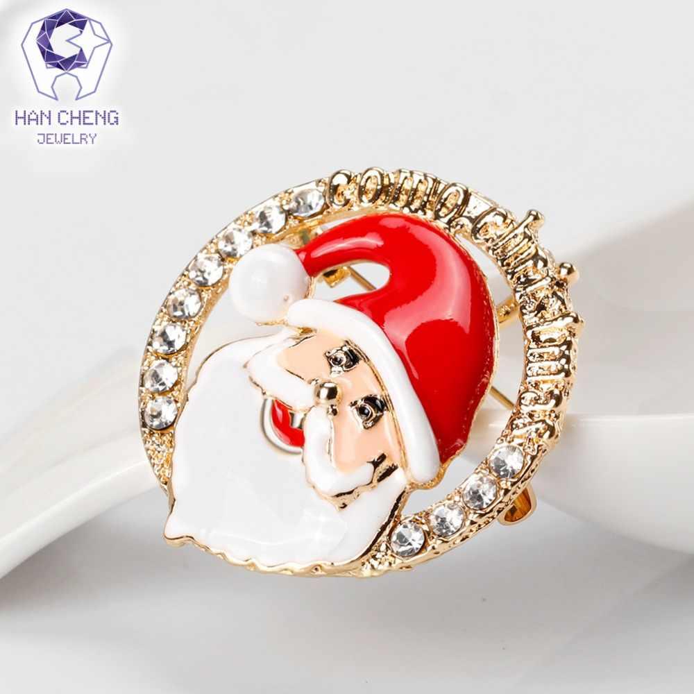 Han Cheng Fashion Round Sinterklas Email Berlian Imitasi Kristal Natal Bros Pin dan Bros untuk Wanita Perhiasan Hadiah Tahun Baru