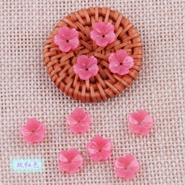 50 sztuk/partia nowy 9mm żywica kwiat koraliki dla diy klips do włosów tworzenia biżuterii akcesoria materiał imitacja powłoki luźne koraliki z otworem