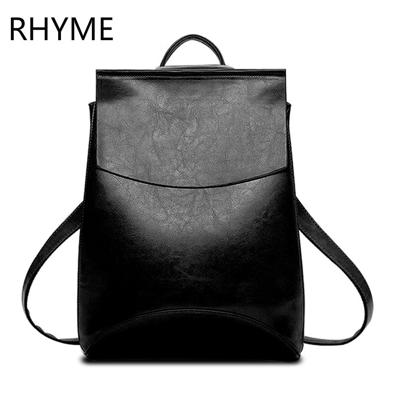 ФОТО RHYME Women Solid Vintage School Backpacks Bags for Girls PU Leather Backpack Mochilas Mujer Sac A Main