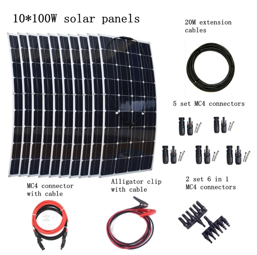 10*100W Solar Panel +20M Cables + 5 Pair MC4 Connectors + 2 Pair 6 in 1 Connectors Household 1000W Solar System