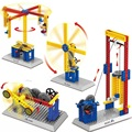 Assembling teaching mechanical group electric building block toy gift early education merry-go-round windmill target machine