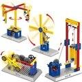 Montagem building block toy presente educação ensino grupo mecânica elétrica carrossel máquina de destino do moinho de vento