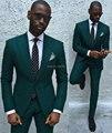 Mais recentes Modelos Casaco Calça 2017 Noivo Smoking Mens Terno Melhor Homem do Terno Verde Escuro Slim Fit Ternos de Casamento Para Os Homens (Jacket + Pants + Tie)