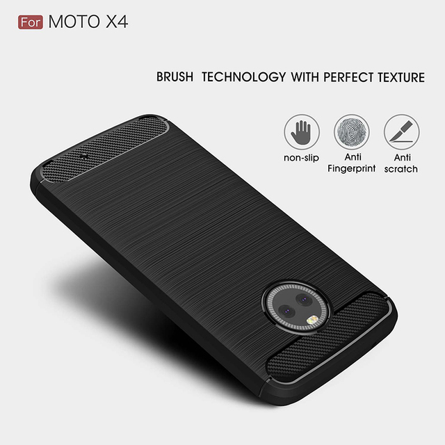 For Motorola Moto X4 case Carbon Fiber TPU Brushed Protector Back Cover Moto X4 protective case Anti-Skid free shipping