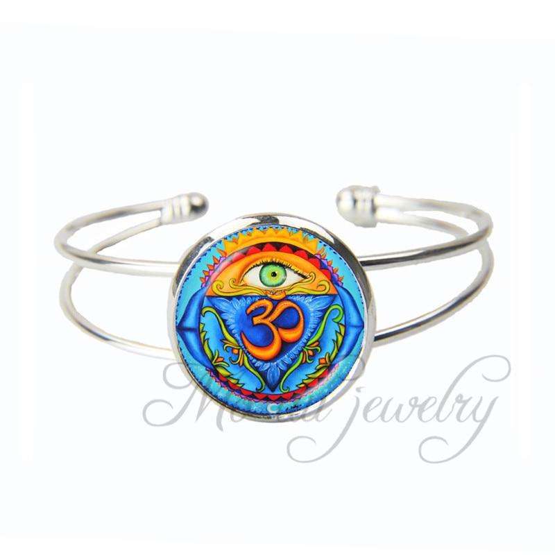 Bracelets & Bangles Buddhism Jewelry Handmade Silver Bracelet Chakra Cuff Metal Bracelet For Women Men Bangle Glass Dome Om Charm Bracelet Bangle