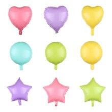 5pcs Hot Candy Macarons 18 Inch Round Pentagram Star Aluminum Film Balloon Valentines Day Wedding Birthday Decoration