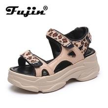 Fujin 5cm Heels Platform Sandals Women Wedges Shoes Sequined Cloth Hook Loop Zapatos Mujer Slippers Woman Sandal