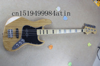 Free Shipping New Arrival Custom Guitar JAZZ Bass Guitar Blue 4 Strings natural Wood Bass Electric Guitar