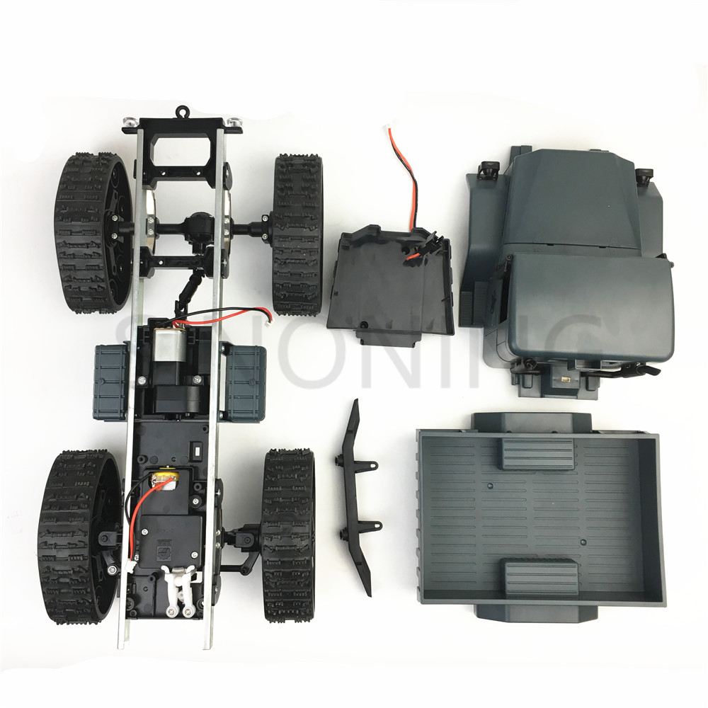 All-terrain rubber track wheel robot chassis military truck 4WD climbing DIY modified car kit цена