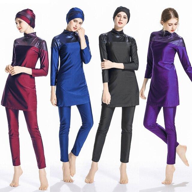 2019 Arab Baju Renang Wanita Islam Sederhana Muslim Tiga Potong Penuh Penutup Islam Baju Renang Lengan Panjang Jilbab Solid Plus Ukuran Pakaian Renang
