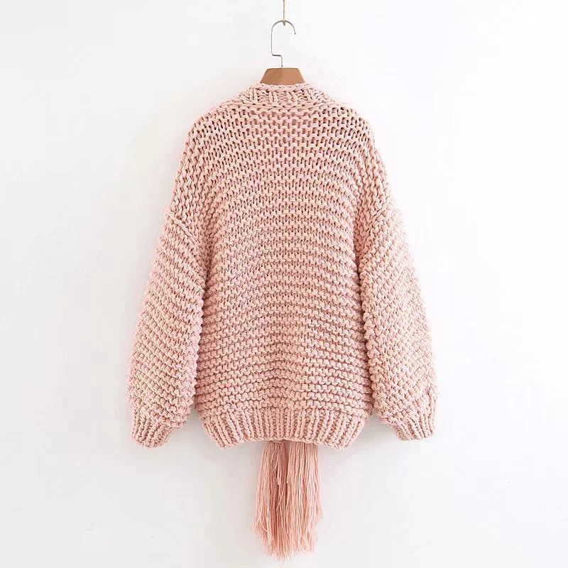 2018 Autumn Fashion Women Thick Wool Cardigan Sweaters Tassel Solid Color Hand Knitted Lantern Sleeve Sweater Cardigans BB482