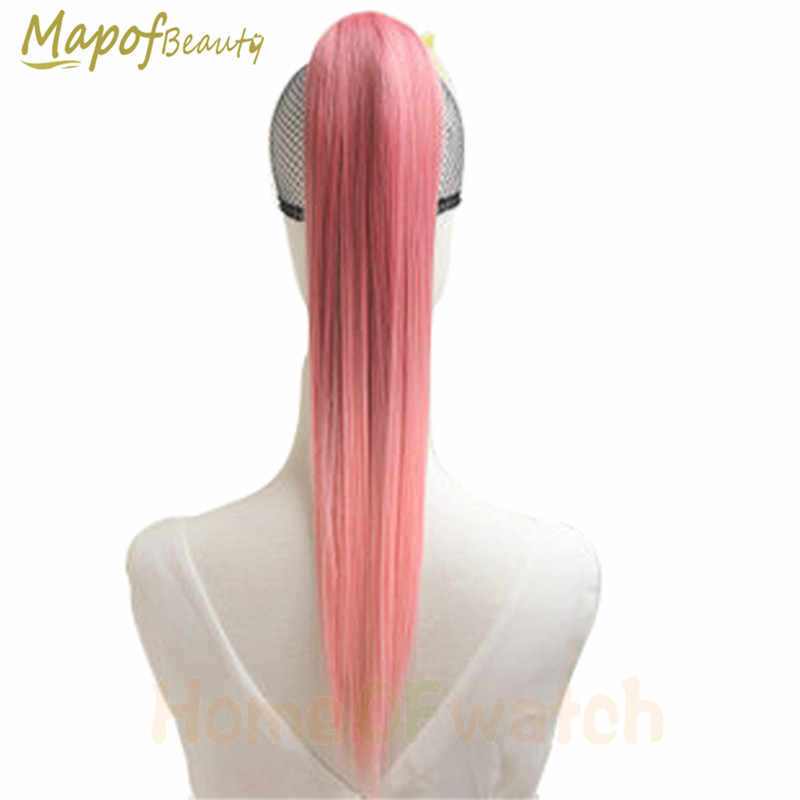 "MapofBeauty 20"" Straight Clip In one piece Ponytail 5 colors Synthetic Hair Extensions Ombre Ribbon Drawstring Heat Resistant"