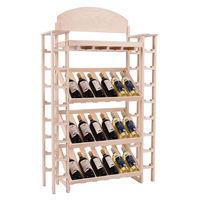 Goplus 34 Bottles Wood Wine Rack Bar Bottles Holder Storage Organizers Modern Wine Display Shelves Home Decor HW54422