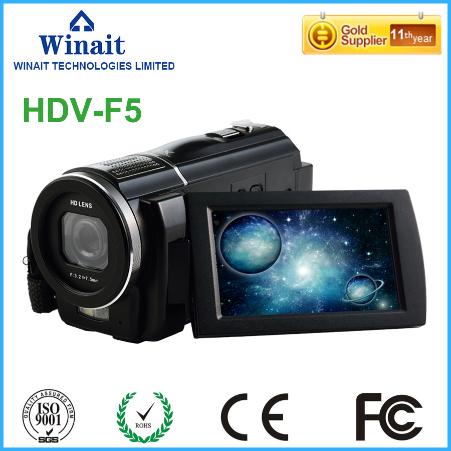 Freeshipping Professional Video Camera Digital Camcorder DVR HDV-F5 3.0 Touch Display 1080P HD DIS Optional Wide Angle Lens