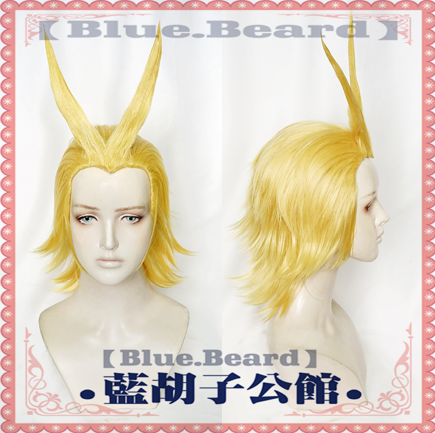 New Boku no Academia All Might Golden Cosplay Anime Wig Halloween Role Play My Hero Academia Costume Hair+ Wig Cap