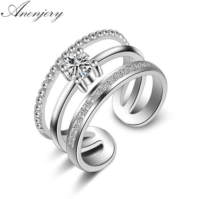 Anenjery Trendy Korean Style 925 Sterling Silver Multi-layer Wedding Rings For Women Dazzling Zircon Crystal Opening Ring S-R239