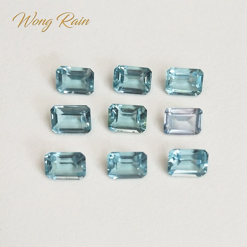 Wong Rain 1 PCS Natural 5 * 7 MM Emerald Cut Aquamarine Topaz Loose Gemstone DIY Stones Decoration Jewelry Wholesale Lots Bulk