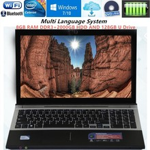 8G RAM+2000G HDD+128G U Drive 15.6″Gaming Laptops N3520 Quad Core 2.16GHz Win 7/10 system Notebook PC Laptop Computer DVD ROM