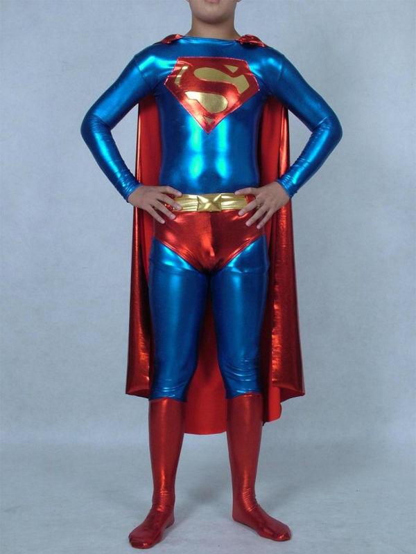 Superman Zentai Metálico brilhante Costume com Cabo para Festas de Halloween e Cosplay bodysuit Superman Catsuit com Cabo