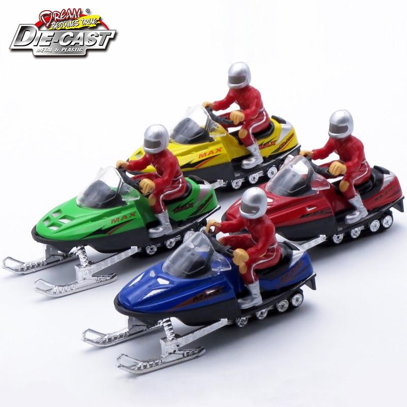 Modelo de moto de nieve de fundición a presión de 12 cm de longitud, juguetes de metal para niños / niños como regalo, automóvil de aleación con sonido / luz / figura de acción