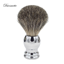 Brosse de rasage pur blaireau de haute qualité, avec manche en métal, accessoire de coiffeur