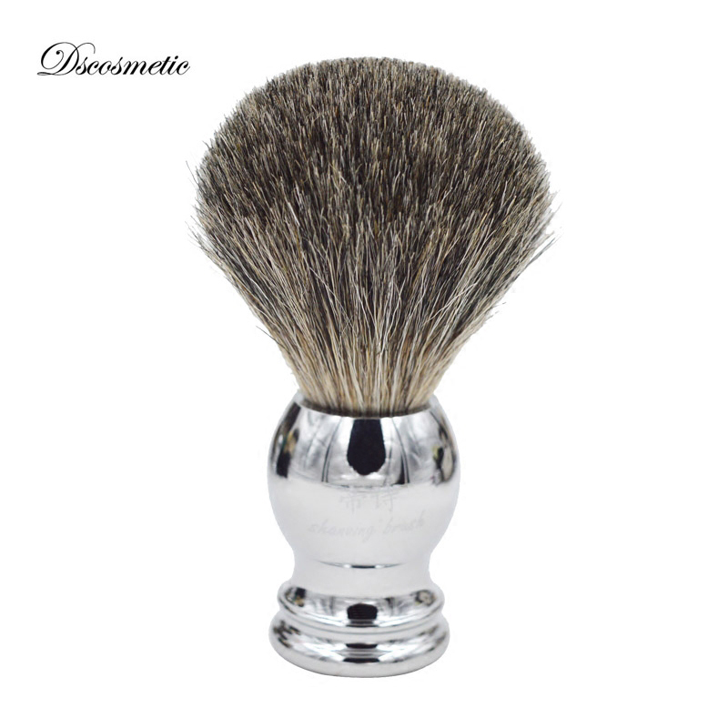 Shaving-Brush Barber-Tool Shave Hair Metal-Handle Pure-Badger with for High-Quality title=