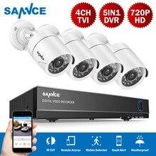 SANNCE DVR комплект системы видеонаблюдения HDMI 720 P 1200TVL 4CH 1080N 5 в 1 защита от атмосферных воздействий CCTV камера 1.0MP