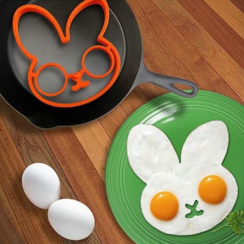 Белый кролик утолщенный силикагель Форма для обжаривание яиц инструменты для омлета на завтрак плесень устройство блинное кольцо в форме яйца кухонный инструмент